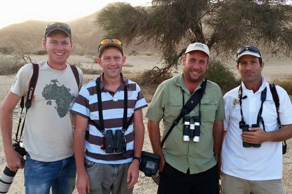 Big smiles after seeing our lifer, Arabian Warbler